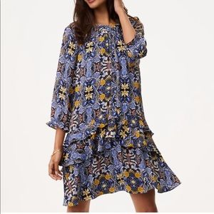 Loft autumn floral swing ruffle tiered dress